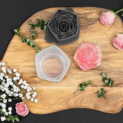 Tovolo Rose Ice Cube Stackable with Tight Silicone Seal, Novelty Drink Mold-Set of 2, One Size, Clear, 2, Frost/Charcoal