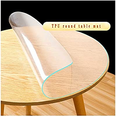 Amazon Com Algwxq Table Protector Clear Round Table Cover No Plastic Smell Table Protector Table Pad For Dining Room Table Kitchen Customizable Color 1 5mm Size Diameter 145cm Home Kitchen