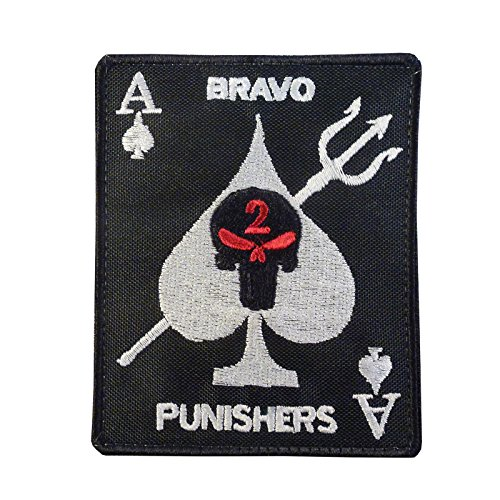 LEGEEON Seal Team Two Bravo Punishers Skull Ace Spades Embroidered Fastener Patch