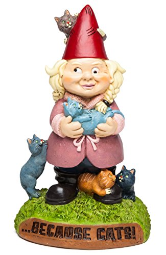 """BigMouth Inc. Crazy Cat Lady Garden Gnome - Funny Weatherproof Garden Decoration, Makes a Great Gag Gift – 9"""" Tall"""