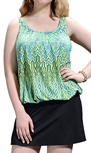 2 Tankini Piece Skirted (Jinxueer Women's Vintage Print Two Piece U Neck Bathing Suit Solid Skirt Bottom Tankini Swimsuit (10, Green))