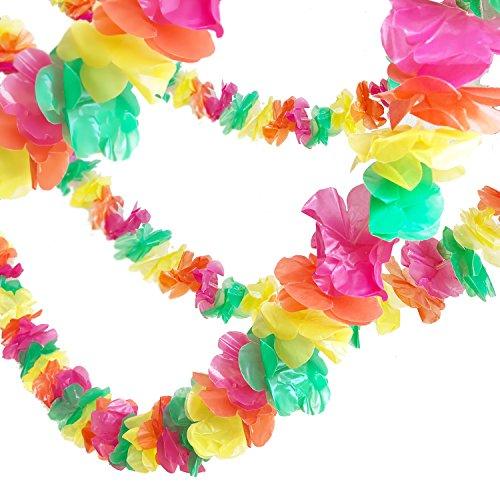 (GIFTEXPRESS 100 feet Plastic Lei Garland/ Hawaiian floral border/ Luau Party Flower Garland/Hawaiian Party Garland/Luau Party)