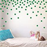 Polka Dot Circles Vinyl Wall Decor Stickers - Easy DIY Peel & Stick Removable Decorative Room Decals [Set of 160] (Light Green, 1.1 inch dots)