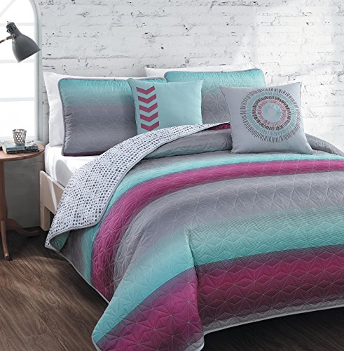 avondale-manor-cyress-5-piece-quilt-set-king-magenta