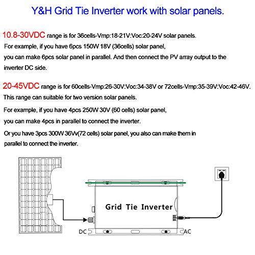 Y&H 1000W Grid Tie Inverter Stackable MPPT Pure Sine Wave DC10.8-30V Solar Input AC90-140V Output for 12V Solar Panel by Y&H (Image #5)