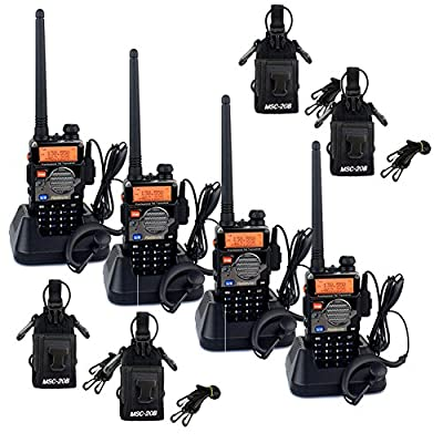 Retevis-RT-5RV-2-Way-Radio-5W-128CH-VHF-UHF-136-174-400-520-MHz-DTMF-VOX-FM-with-Earpiece-4-Pack--and-Multi-Function-Radio-Case-Holder--4-Pack-