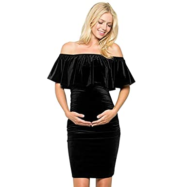 7f2ecfb01991a Off Shoulder Maternity Dress Knee Length Pregnancy Party Baby Shower  Bodycon Dress Ruffles Velvet Dress Black