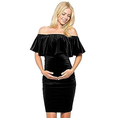 e47a3b61c34f Off Shoulder Maternity Dress Knee Length Pregnancy Party Baby Shower  Bodycon Dress Ruffles Velvet Dress Black