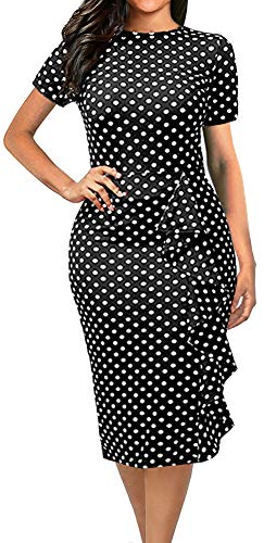 LunaJany Women's Short Sleeve Crew Neck Polka Dot Flounce Trimmed Wrap Dress Large Black