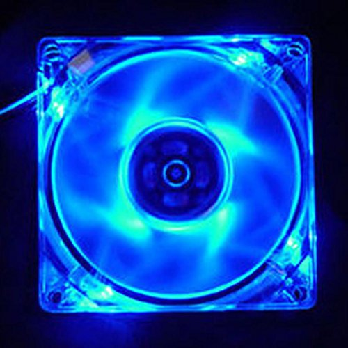 Braceus Quad 4-LED Light Neon Quite Clear 120mm PC CPU Computer Case Cooling Fan Mod (Blue)
