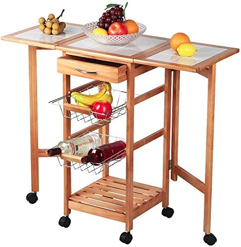 Yaheetech Portable Rolling Drop Leaf Kitchen Island White Tile Top Trolley Table Cart with Drawers and  sc 1 st  Amazon.com & Kitchen Islands u0026 Carts | Amazon.com islam-shia.org