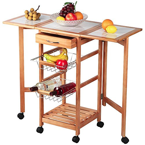 Topeakmart Portable Rolling Drop Leaf Kitchen Island Cart White Tile Top Folding Trolley Table, 1 Wood Drawer & 2 Steel Baskets Pine Drop Leaf