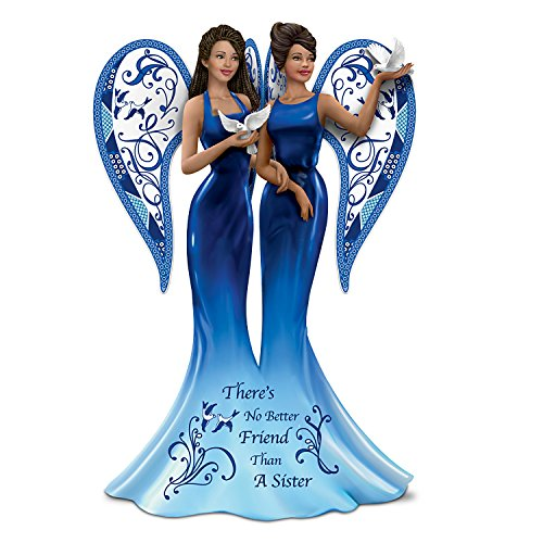The Hamilton Collection Keith Mallett Blue Willow Angel There s No Better Friend Than A Sister Figurine