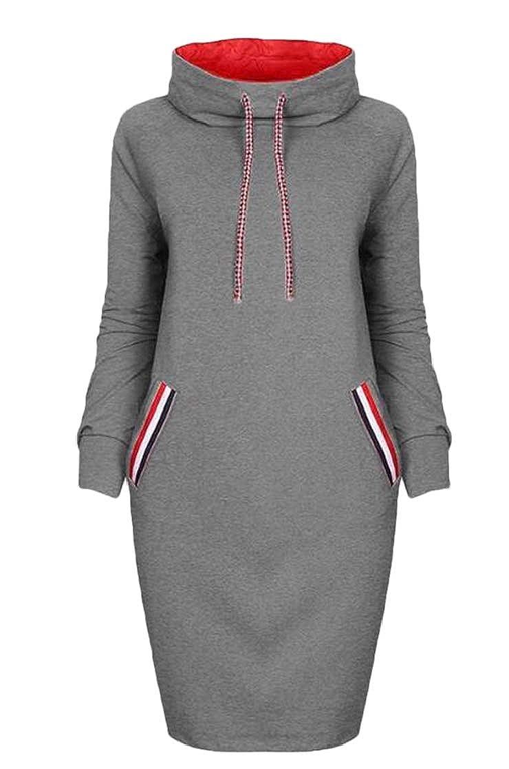 Domple Women Bodycon Turtle Neck Long Sleeve Solid Sweatshirt Jacket Coat