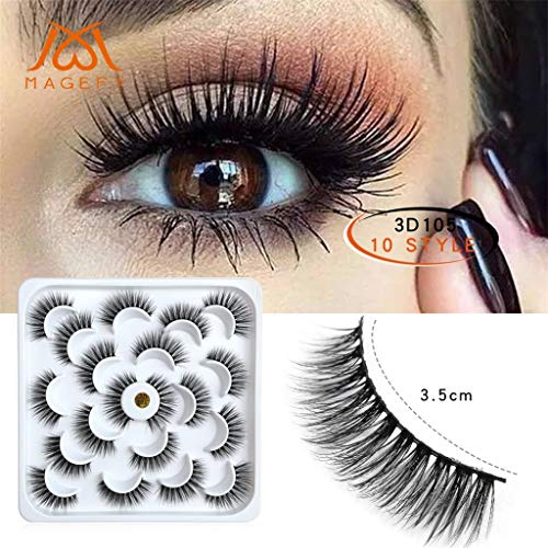 Ktyssp 10 Pairs Of 3D Mink Fur Eyelashes Sexy With Soft Long Curly And Warped Many Layer ()