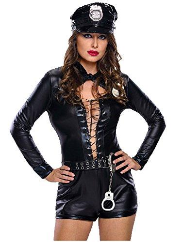 EORISH Women's Sexy Bandage Police Uniform Cop Costumes With Handcuffs(Medium) - Sexy Hallowen Costumes
