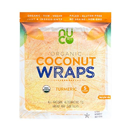 NUCO Certified ORGANIC Paleo Gluten Free Vegan Turmeric Coconut Wraps, 5 Count (One Pack of Five Wraps) - Wrap Tortilla