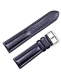 Breitling Style Oil Tanned Leather Watchband Black 19mm Watch band - by deBeer