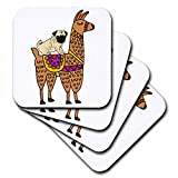 3dRose All Smiles Art Animals - Cool Humorous Pug Dog Riding llama Cartoon - set of 4 Ceramic Tile Coasters (cst_270099_3)