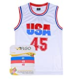AFLGO Donald Trump 45 Basketball Jersey Include Set Wristbands Commemorative Edition S-XXL White (White, XL)