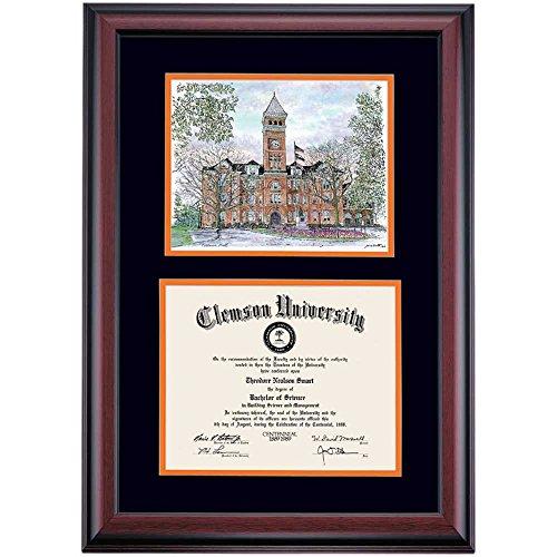 - Clemson Tigers Diploma Frame Black Orange Matting Watercolor