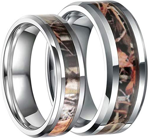 Frank S.Burton 6mm 8mm Camo Wedding Bands for Men Women Hunting Tungsten Carbide Rings Comfort Fit Size 5-13