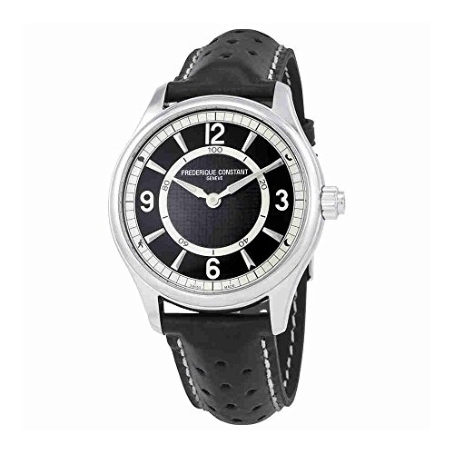 Frederique Constant Men's 'Horological Smart' Swiss Quartz Stainless Steel and Leather Casual Watch, Color:Black (Model: FC-282AB5B6)