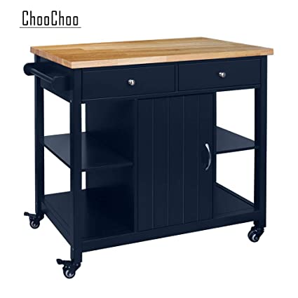 Choochoo Rolling Kitchen Island With Wood Top Utility Wood Kitchen Cart On Wheel With Storage And Drawers Navy Blue
