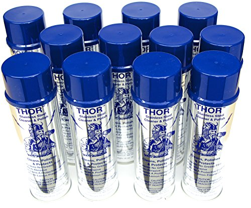18 Oz. Thor Stainless Steel Cleaner & Polish (Case of 12 Can): Clean and Polish Stainless Steel Appliances Including Brass, Copper, Aluminum, Formica and Porcelain Surfaces by Thor (Image #1)