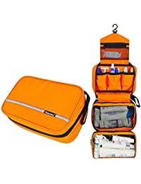 Travel Toiletry Bag Cosmetic Organizers with Hanging Hook Use in Hotel,Bathroom(Orange)