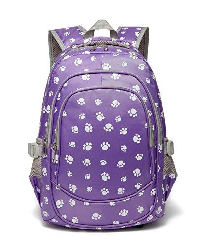 Girls Backpacks for Kindergarten Kids Toddler Preschool School Bags Durable Bookbags for Little Girls 15 Inch Nylon Paw Print (Small,Purple)