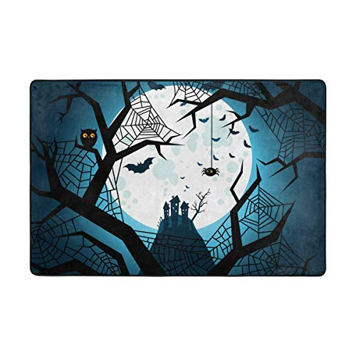 LUPINZ Halloween Bats Flying Night Carpet Area Rug Rectangle Entry Way Doormat Anti-Curling Keeps Your Rug in Place Makes Corners Flat Ideal Anti-Slip Rug -