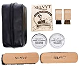 New Selvyt 1890 Luxury Shoe Care Kit with Premium Horse hair brushes, cloth and creams + Leather Bag