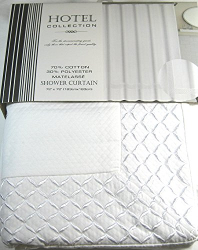 Hotel Collection Premium Quality Metalasse Shower Curtain- White and White Border --72' X 72'