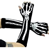 Deathrock Skeleton Fingerless Gloves Gothic Punk Rock Arm Warmers