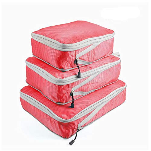 Packing Cubes 3 Set,Travel Organizer Accessories for Carryon Luggage Suitcase L+M+S,Pink