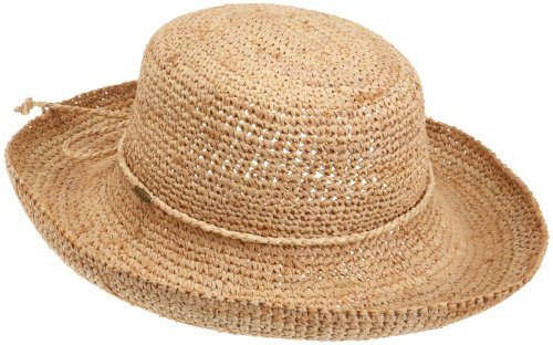 Scala Women's Crocheted Packable Raffia Hat,Natural,55cm (Raffia Womens)