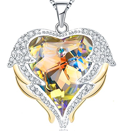 Mevecco Women Heart of The Ocean Heart Pendant Necklace Made with Swarovski Crystals Jewelry AB Colour