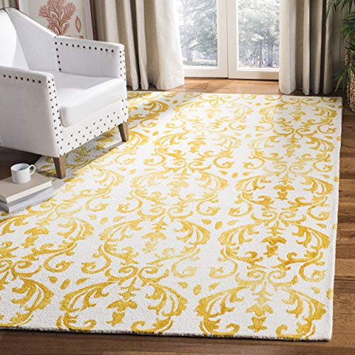 Safavieh Dip Dye Collection DDY689A Handmade Geometric Watercolor Ivory and Gold Wool Area Rug 5 x 8