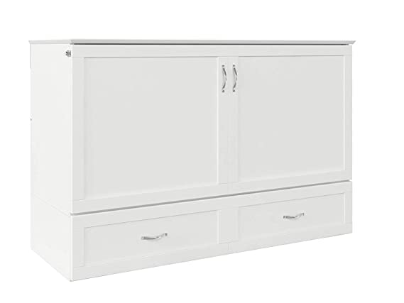 Atlantic Furniture Ac624142 Hamilton Murphy Bed Chest With Charging Station & Mattress, Queen, White by Atlantic Furniture
