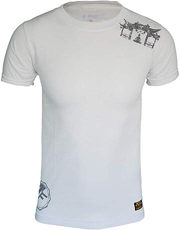 4Fighter Tejido de Cuello Redondo Camiseta en Blanco con Sutil Gris Templo del Buda de impresión
