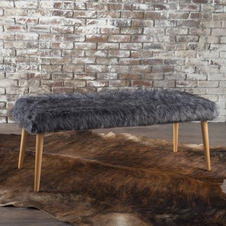 Noble House Marice Grey Long Hair Furry Ottoman by Noble House