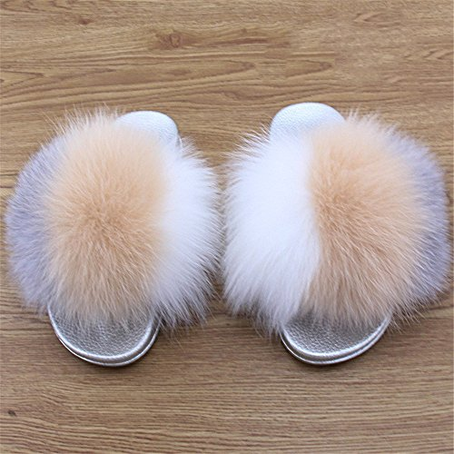 Open Comfortable Fox Women Toe Sandals Sole Fur Width On Wide Multicolor b qmfur Silver Slides Real zXqdwEXxa