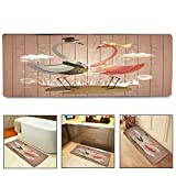 QIYI Bath Mat Rug Super Soft Non-Slip Machine Washable Quickly Drying Antibacterial,for Office Door Mat,Kitchen Dining Living Hallway Bathroom 16''x48''-Cartoon Flamingo