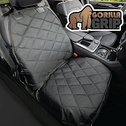 Gorilla Grip Original Premium Slip-Resistant Pet Car Front-Seat Protector for Pets, Free Dog Bowl, Waterproof, Thick Quilted Material, Seat Belt Openings, Extra Large (Premium Front: (Quilted Buckle)