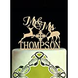 Unique Rustic Country Wedding Cake Toppers Deer Mr and Mrs Personalized Last Name Wedding Cake Topper