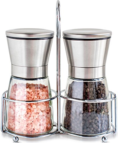 Salt and Pepper Shakers with Matching Stand - Salt and Pepper Grinders - Spice Grinder with Adjustable Coarseness - Brushed Stainless Steel Salt and Pepper Mill Pair