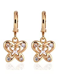 Women White Butterfly Hook Earrings Copper Gold Plated Crystal Ear Studs Boucles D'oreilles