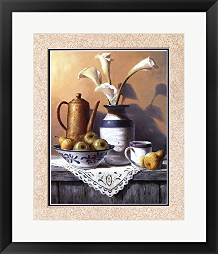 Mason Jar With White Lilies by T.C. Chiu Framed Art Print Wall Picture, Black Frame with Hanging Cleat, 23 x 27 inches