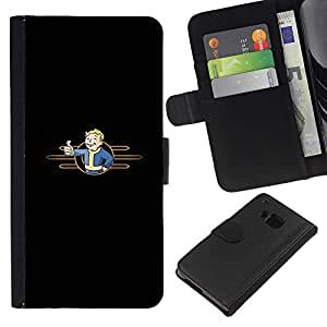 LECELL--Cuero de la tarjeta la carpeta del tirón Smartphone Slots Protección Holder For HTC One M7 -- Minimalista Bóveda Boy --